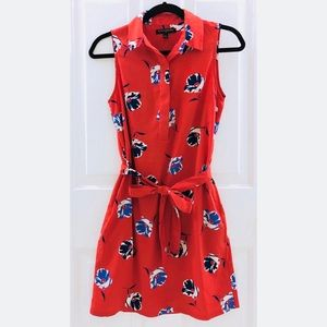 Banana Republic Red Floral Shift Dress, Size 0